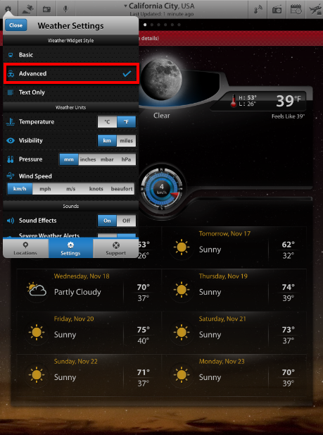 Select Weather Widget Style