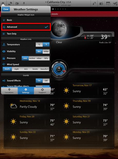 Select Weather Widget Style