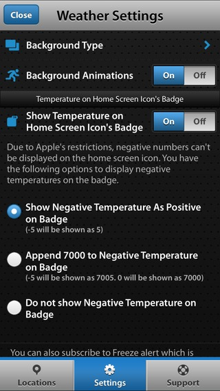inner – Temperature on Home Screen