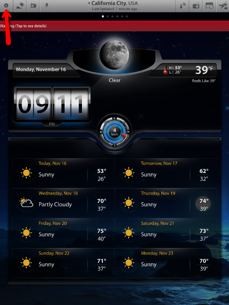 Access Weather Settings